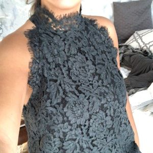 HIGH NECK LACE GREY TOP
